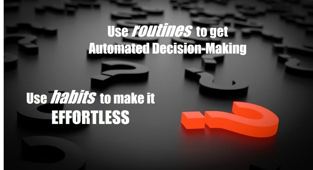 automated decision-making - Use routines to get automated decision-making and use habits to make it effortless