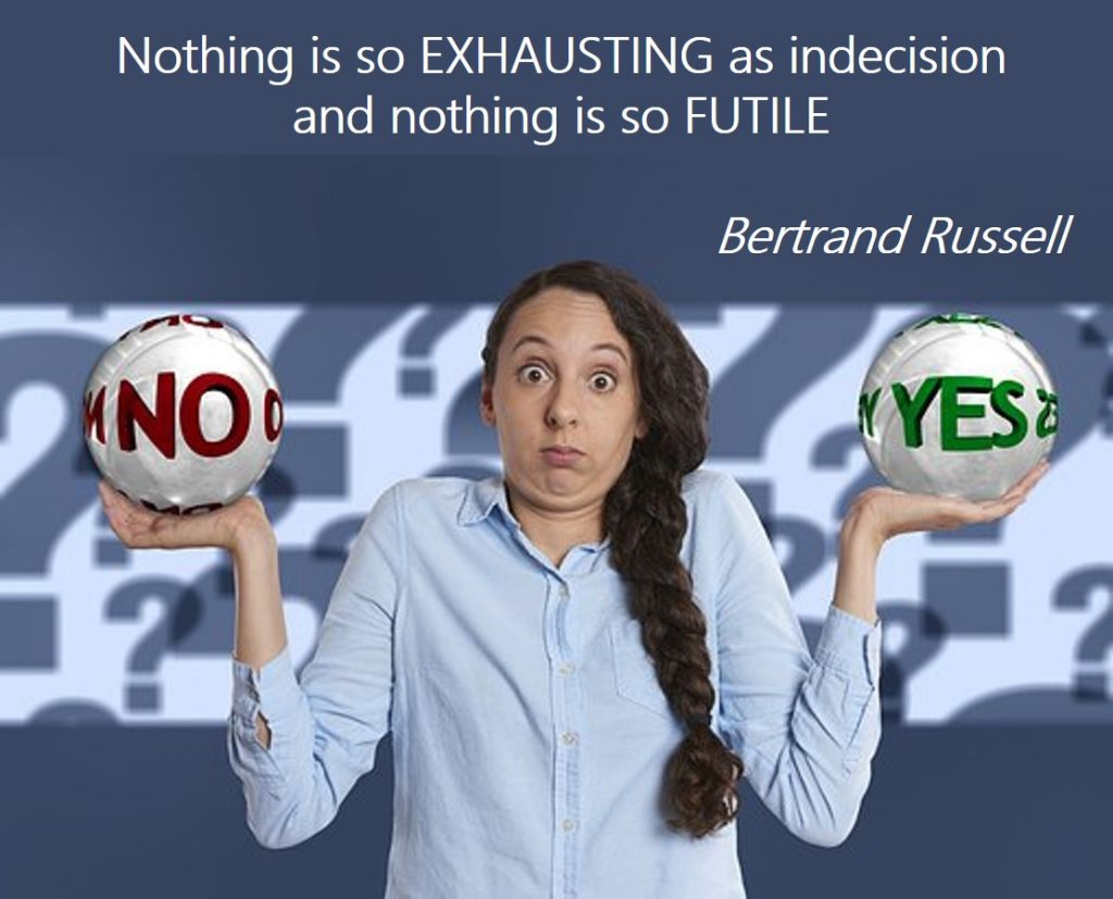 Choice paralysis – Nothing is so exhausting as indecision, and nothing is so futile ― Bertrand Russell